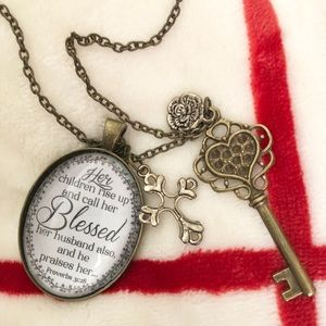 Jewelry - ✨SALE✨Proverbs Key and Cross Charm Necklace